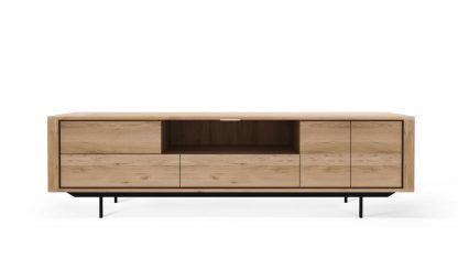 51316 Oak Shadow TV cupboard - 2 opening doors - 1 flip down door - 2 drawers - black metal legs 224x45x63_f