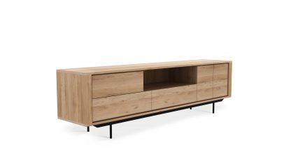 51316 Oak Shadow TV cupboard - 2 opening doors - 1 flip down door - 2 drawers - black metal legs 224x45x63_p